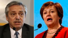 El presidente electo Alberto Fernández y la nueva titular del FMI, Kristalina Georgieva.