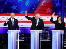 Joe Biden, Bernie Sanders y Kamala Harris, en el debate del Partido Demócrata en Miami.